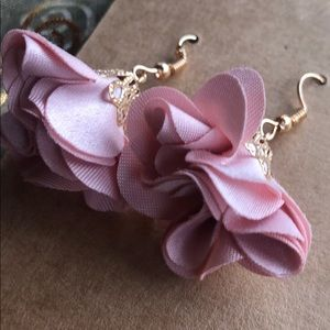 Mauve And Gold Dangly Flowered Earrings